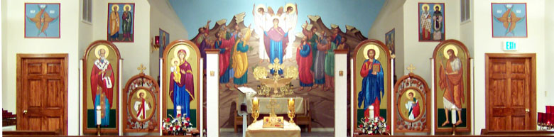 church interior with altar and icons